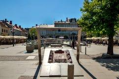 Mercado histórico em Bielsko-Biala, Polônia imagens de stock