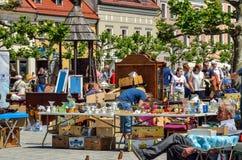 Mercado histórico em Pszczyna, Polônia Fotos de Stock