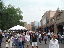 Mercado indio 2015 de Santa Fe Plaza New Mexico Imagen de archivo