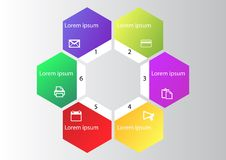 Mercado infographic, diagrama do ciclo, gráfico de negócio global, carta da apresentação 1,2, 3, 4, 5, 6, opções, peças, etapas,  ilustração stock