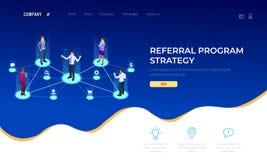 Mercado isométrico da referência, mercado da rede, estratégia do programa da referência, consultando amigos, parceria do negócio ilustração do vetor