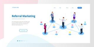 Mercado isométrico da referência, mercado da rede, estratégia do programa da referência, consultando amigos, parceria do negócio ilustração royalty free