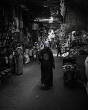 Mercado Jemaa Al Fna Black de C4marraquexe e branco Imagem de Stock