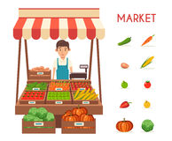 Mercado local da tenda Vendendo vegetais Ilustração lisa do vetor Imagem de Stock Royalty Free