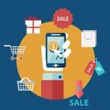 Mercado móvel no projeto liso fotos de stock royalty free