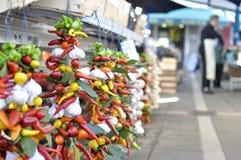 Mercado mediterrâneo - Rovinj, Croácia fotografia de stock