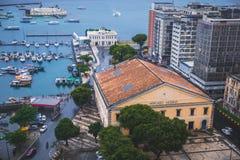 Mercado Modelo in Bahia, Salvador - Brazil. With the view of the bay nd the Mercado Modelo stock images