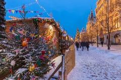 Mercado no quadrado vermelho, Moscou do Natal, Rússia Foto de Stock Royalty Free