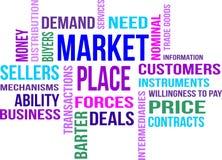 Mercado - nuvem da palavra Fotos de Stock Royalty Free