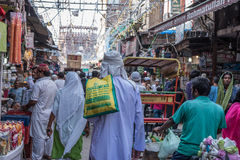 Mercado ocupado em Jama Masjid, Deli, Índia Imagens de Stock Royalty Free