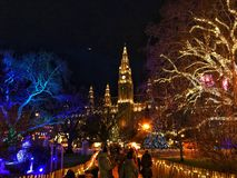 Mercado Rathaus do Natal, Viena, Áustria imagens de stock