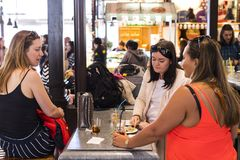 Mercado San Miguel market with food courts and delicacies is a popular place among tourists and city dwellers. MADRID, SPAIN -  28 MARCH, 2018: Mercado San Stock Images