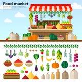 Mercado sano de la comida de las verduras, frutas, bayas stock de ilustración