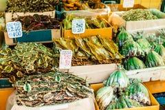 Mercado secado de los mariscos Fotos de archivo libres de regalías