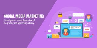Mercado social dos meios, campanha de marketing digital, propaganda em linha, construção da rede, conceito de partilha satisfeito ilustração stock