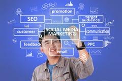 Mercado social dos meios, conceito inspirador das citações das palavras foto de stock