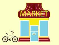Mercado suburbano Front View Building y bicicleta Imagenes de archivo