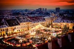 Mercado Transilvania Rumania de la Navidad de Sibiu Imagenes de archivo
