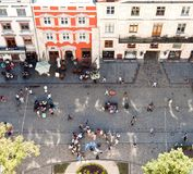 Mercado visto da torre de sino em Lviv, Ucrânia Foto de Stock Royalty Free