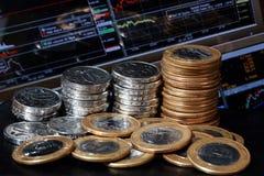 Mercado y dinero de acción Fotografía de archivo