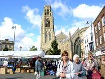 Mercado y tocón, Lincolnshire de Boston. Foto de archivo libre de regalías