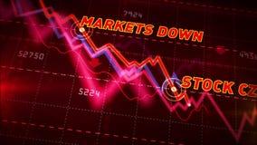 Mercados de acción abajo de la carta ilustración del vector