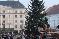 Mercados de la Navidad en el mercado de la col en Brno Imagen de archivo
