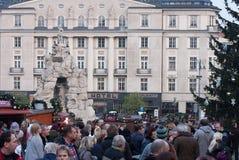 Mercados de la Navidad en el mercado de la col en Brno Foto de archivo
