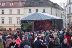 Mercados de la Navidad en el mercado de la col en Brno Imagenes de archivo