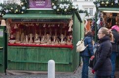 Mercados de la Navidad en el mercado de la col en Brno Imagen de archivo libre de regalías