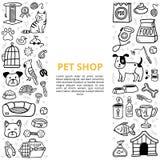 Mercancías blancos y negros para una tienda de animales en estilo del garabato stock de ilustración