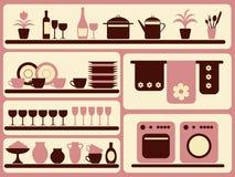 Mercancías de la cocina y objetos caseros fijados. Fotos de archivo libres de regalías