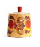 Mercancías de madera pintadas a mano populares rusas viejas de la cocina Fotos de archivo