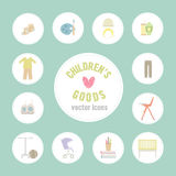 Mercancías del bebé Modelo de los iconos de las mercancías del bebé Iconos planos de los niños Iconos planos en problemas niño-re Fotografía de archivo libre de regalías