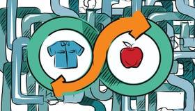 Mercancías económicas del intercambio del intercambio del concepto de la transacción del comercio del comercio del trueque stock de ilustración