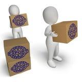 Mercancías exportadoras y de envíos de la demostración de las cajas de la exportación Fotos de archivo libres de regalías