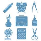 Mercancías negras de la escuela, iconos lineares azules claros parte Fotografía de archivo libre de regalías