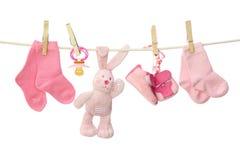 Mercancías rosadas del bebé Imagen de archivo