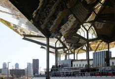 Mercat dels Encants with futuristic roof and Barcelona skyline Royalty Free Stock Photography