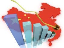 Mercati azionari della mappa della Cina 3d giù Fotografia Stock Libera da Diritti