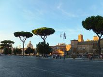 The Mercati di Traiano complex in Rome, Italy, together with the Torre delle Milizie, viewed from the Via dei Fori Imperiali stock photography
