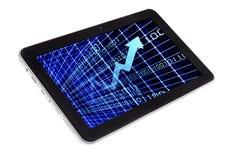 Mercati e grafici che vendono sul PC della compressa fotografia stock libera da diritti