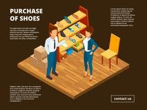 Mercato al minuto della scarpa Il deposito del negozio del piede per l'abbigliamento casual interno dello spogliatoio maschio e f illustrazione vettoriale