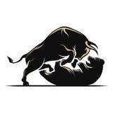 Mercato azionario del toro e del ribassista fotografia stock