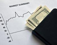 Mercato azionario e dollari Fotografia Stock