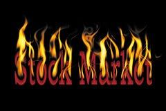 Mercato azionario su fuoco Fotografia Stock Libera da Diritti