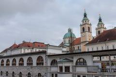 Mercato centrale di Transferrina, con il fiume di Ljubljanica su priorità alta e la cattedrale di Transferrina nei precedenti Fotografia Stock