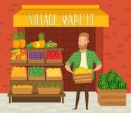 Mercato degli agricoltori Commerciante locale dell'agricoltore Fotografia Stock Libera da Diritti