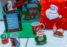 Mercato dei regali e dei giocattoli di Natale immagine stock