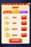 Mercato del negozio e menu di pop-up di scena del app della locanda del deposito illustrazione di stock